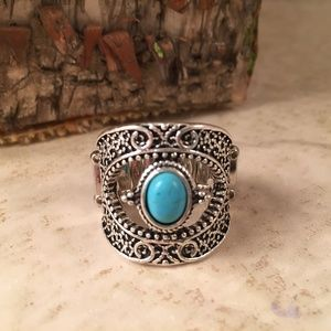 Silver and Turquoise Stretch Ring New